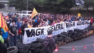 foto greve geral na Catalunha